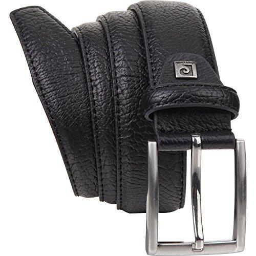 Ledergürtel Herren / Gürtel Herren Pierre Cardin, Rindleder mit Struktur-Prägung, schwarz, 8095, Größe / Size:90;Farbe / Color:schwarz
