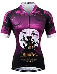 Thriller Rider Sports® Mujer Halloween Deportes y Aire Libre Maillot Manga Corta de Ciclismo Medium
