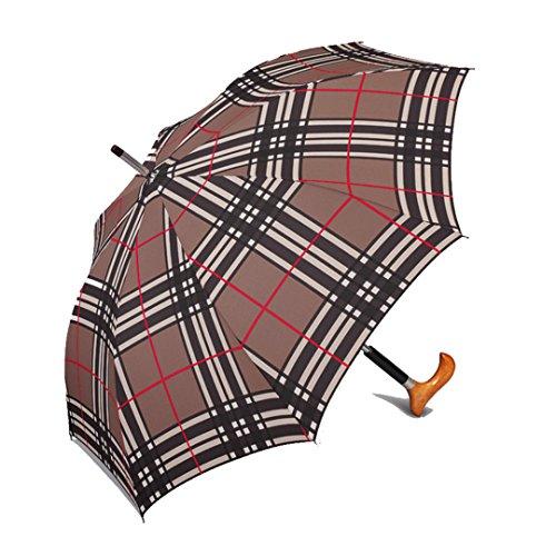 happy rain selection Regenschirm Stützschirm Gehstock Gehhilfe Long AC Stütz Fritz Holzgriff checks brown / karo braun -