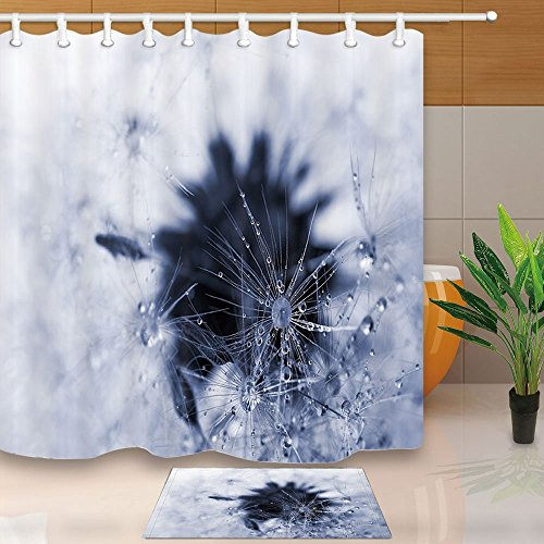 Ice Snow Vorhang für die Dusche von Dandelions Samen mit Wasser Drop Art Druck 180x 180cm Schimmelresistent Duschvorhang Set mit 60x 40cm Flanell rutschfeste Boden Fußmatte Bad Teppiche - Runde Rod Druck-vorhang