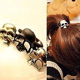 OPCC Pack of 6 Womens Retro Punk Fashion Metallic 3D Skull HairBand Rope Tie Wrap Ponytail Holder