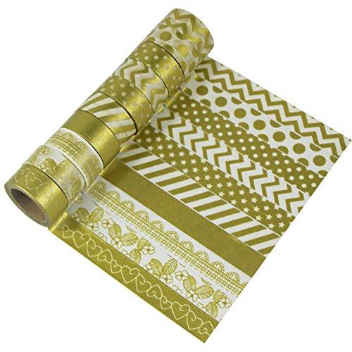 EDGEAM 10 Rollos Washi Tape Set Dorado Cinta adhesiva decorativa papel de bricolaje Álbum de recortes (Design-Gold10)