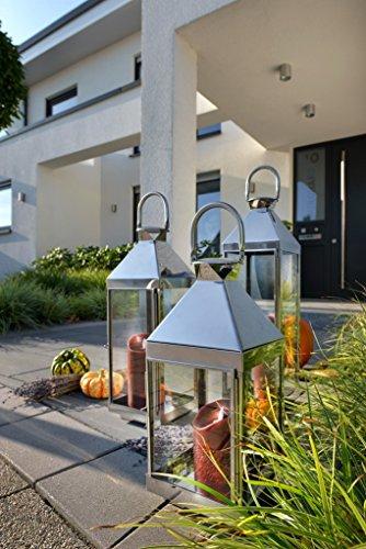 home + Laterne aus Edelstahl - Rostfrei, wetterfest - in verschiedenen Größen (spitz), Größe:Klein (45cm)