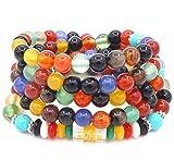 ChicJ&Y 6 MM 108 Granos de Oración Ágata de Colores Seis Palabras Pulsera Mantra...
