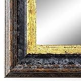 Spiegel Wandspiegel Badspiegel Flurspiegel Garderobenspiegel - Über 200 Größen - Trento Schwarz Gold 5,4 - Außenmaß des Spiegels 50 x 50 - Wunschmaße auf Anfrage - Antik, Barock
