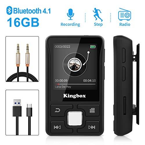 Lecteur MP3, Mini Lecteur Baladeur Bluetooth 4.1 avec 16Go, Podomètre Intelligent, Radio FM, Enregistreur Vocal, Lecteur E-Book, Support Jusqu'à 128Go