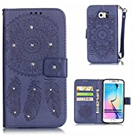 Galaxy S6 Edge Case, KKEIKO® Galaxy S6 Edge Wallet Case, Flip Leather Case and Cover with Bling Rhinestone, Book Style Bumper Cover Case for Samsung Galaxy S6 Edge with Free Tempered Glass Screen Protector (Blue)