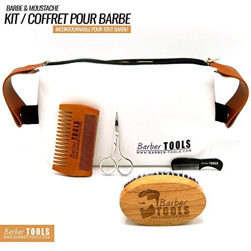 ✮ BARBER TOOLS ✮ Kit / Set / Coffret d'entretien et de soin pour barbe. Peigne barbe + Brosse barbe 100% en poils de sanglier + Ciseaux de précision + Peigne barbe de précision + grand sac de rangement. Le cadeau idéal pour les hommes barbus.