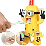 #7: Vmoni Minions Toothbrush Holder Automatic Toothpaste Dispenser Set