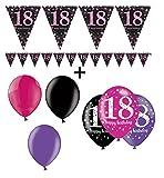 Feste Feiern Geburtstagsdeko Zum 18. Geburtstag | 7 Teile All-in-One Set Luftballons Wimpelkette Banner Pink Schwarz Violett Party Deko Happy Birthday