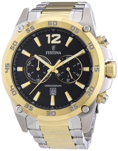 Festina Men's Quartz Watch with Black Dial Analogue Display and Two Tone Stainless Steel Bracelet F16681/4