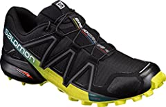 Idea Regalo - Salomon Speedcross 4, Scarpe da Trail Running Uomo, Nero (Black/Everglade/Sulphur Spring), 47 1/3 EU