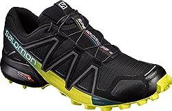 Salomon Herren Speedcross 4 Trailrunning-Schuhe, schwarz/gelb (Black/Everglade/Sulphur Spring), Gr. 43 1/3