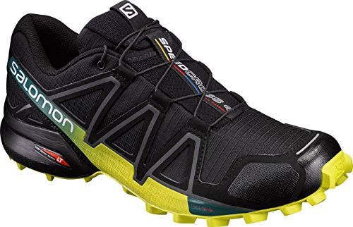 Salomon Speedcross 4, Scarpe da Trail Running Uomo, Nero (Black/Everglade/Sulphur Spring), 45 1/3 EU