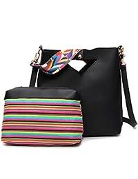Di Grazia Womens 2 In 1 Set Of Bucket Sling Bag & Pouch Handbag Combo With 2 Different Belts (Black, Black-2belt...