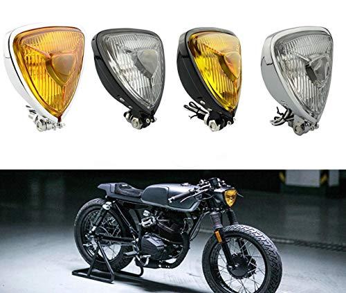 Motorrad Frontscheinwerfer Universal Retro Änderung Dreieckige Metall Scheinwerfer Fit Für Harley Chopper Cafe Racer Benutzerdefinierte (Chrom Bernstein Linse)
