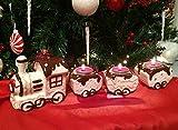 Trenino in ceramica - fantasia di cioccolata porta candele decorazione a tema - lungo 48 cm