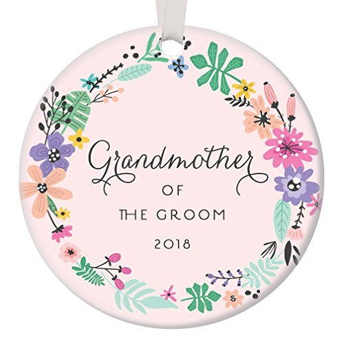 qidushop Pink Grandmother of The Groom Ornament 2018, Gift for Groom's Grandma Christmas Ornament Wedding Party Thank You Favor Husband Son Circle Ceramic Present Flat Porcelain Funny (First Birthday Party Favor Ideen)
