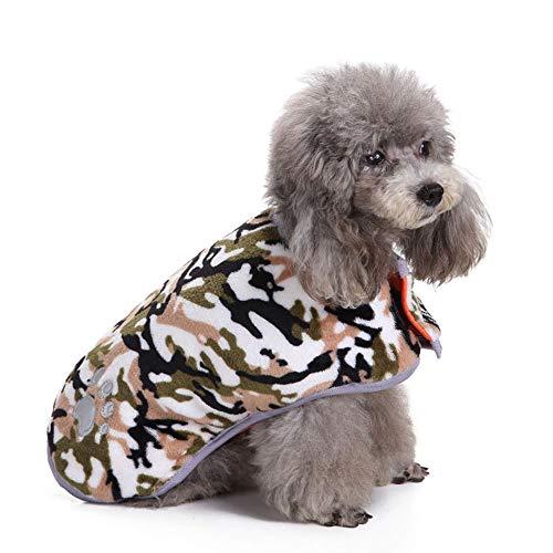 Camouflage Pattern Dogs Coat mit Klettverschluss für den Winter, Simple Pet Jumpers Waschbare warme Kleidung für große mittelgroße Haustiere,CamouflageGray,XXXL