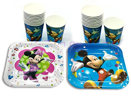 Ziggle Mickey plates and cups pure and safe Party plates Mickey Minnie printed(Pack of 40)