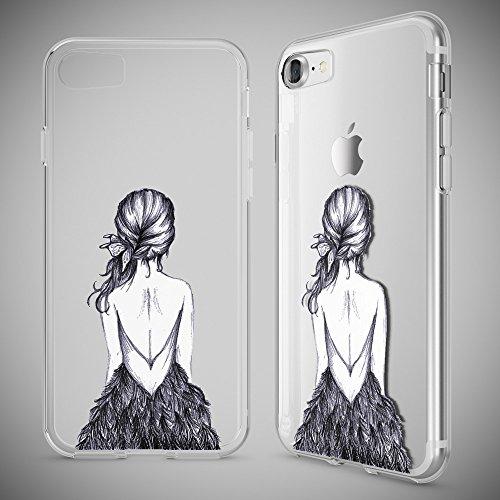 iPhone 8 / 7 Hülle Handyhülle von NICA, Slim Silikon Motiv Case Crystal Schutz Dünn Durchsichtig, Etui Handy-Tasche Back-Cover Transparent Bumper für Apple iPhone 7 / 8 - Transparent Bird Princess