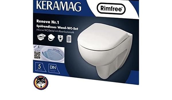 1 Spülrandloses Wand-WC Set *Original* WC Sitz Schallschutz Keramag Renova Nr