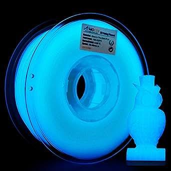 AMOLEN Stampante 3D Filamento PLA 1.75mm, Glow in the Dark Blu 1KG,+/- 0.03mm Materiali Filamenti per Stampanti 3D, include Campione Filamento Marmo.