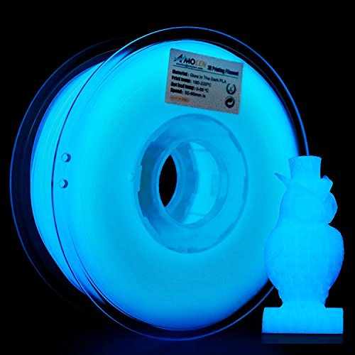 AMOLEN 3D Drucker Filament Glow in the Dark Blau, PLA Filament 1.75mm 1KG(2.2lb),+/- 0.03 mm 3D Drucker Materialien, enthält Proben Marmor Filament. (Glow In The Dark Blau)