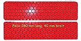 2 Reflektoren á 260 x 40 mm - für Fahrrad, PKW, Anhänger, Parkpfosten oder zur Dekoration, rot reflektierend