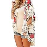 Vovotrade Neue Frauen Sommer Spitze Chiffon Kimono Cardigan Plus Größe Schal Blusen (Size:S, Beige)