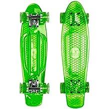 Ridge Skateboards Blaze Mini Cruiser Skateboard, Verde/Trasparente,