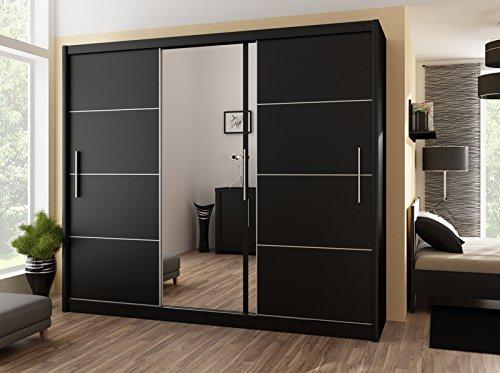 Preisvergleich Produktbild Schiebetürenschrank - Kleiderschrank - Schwebetürenschrank WIST in Schwarz,  mit Spiegel,  Breite: 150cm / 180cm / 203cm / 250cm