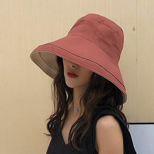 geiqianjiumai Haken Yu Druck Fischer Hut weibliche Flut Sonnenschirm Kappe weiß Fischer Hut doppelseitig rot Rost rot M (56-58cm) (Weiblich Rost Kostüm)