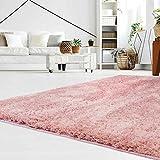 carpet city Teppich Hochflor Langflor Shaggy aus Micro-Polyester Einfarbig/Uni in Puder-Pink für Wohn- oder Schlafzimmer, Größe: 120 x 170 cm