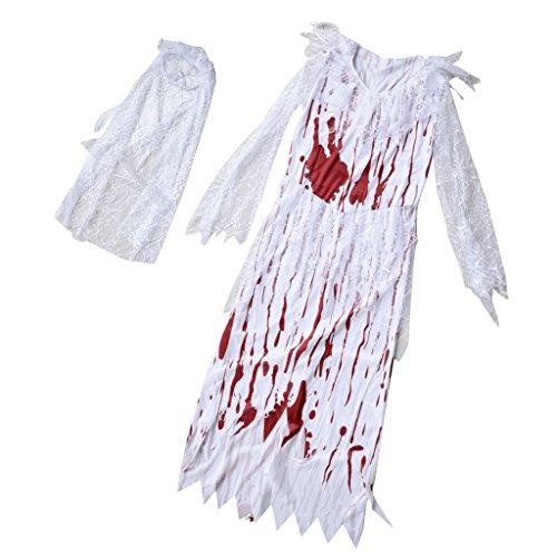 P Prettyia Halloween Zombie Kostüm Cosplay Kostüm Faschingkostüm Blutige Brautkleid,...