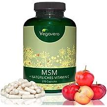 MSM + natürliches Vitamin C Hochdosiert Vegavero | 2.100mg MSM | Hohe Bioverfügbarkeit | Laborgeprüft| 99,9% reines MSM (organischer Schwefel) | 270 Kapseln | Vegan und OHNE Zusatzstoffe