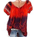 DoubleYI Damen Blumen Spitze Tops Frauen Kurzarm V-Ausschnitt Spitze Gedruckte Lose T-Shirt Bluse Oberteile Tees Shirt (M, RD)