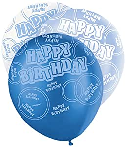 Unique Party - 80880 - Paquet de 6 Ballons en Latex - Anniversaire - Happy Birthday - 30 cm - Bleu Glitz