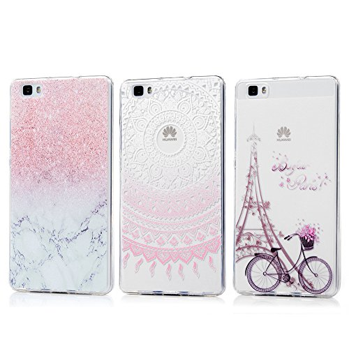 Price comparison product image Huawei P8 Lite Case, Kasos Unique 3 Pack Shock-Absorption Bumper Cover Thin [Drop Protection][Perfect Fit] Flexible Soft TPU Case Anti-Scratch Protective Case Cover With IMD Craft for Huawei P8 Lite