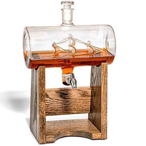 Whiskey Dekanter --Likör Spender für Wein, Bourbon, Wodka, Mundwasser-Glas Väter Tag Geschenk