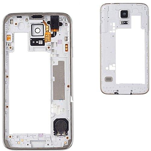 Premium✅ Mittelrahmen Gehäuse (SILBER) für Samsung Galaxy S5 G900F i9600 - Middle Bezel Frame Housing Cover - Silber NEU Bezel Frame Cover