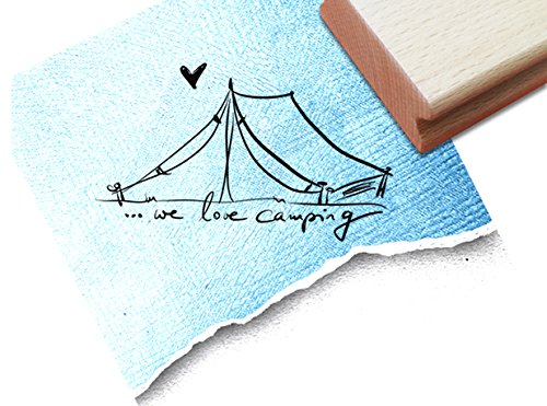 Stempel - Textstempel ZELT ...we love camping ♡ - Toller Motivstempel, der in Fotoalben und auf persönlichen Dingen ganz viele Möglichkeiten bietet. - von zAcheR-fineT (Persönliche Zelt)
