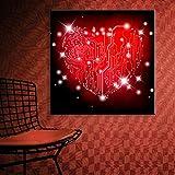 LED Wandbild Leinwand Liebe Aufhellen Herz Gemälde Kunst Leuchtend Glühend Blitz Bild Für Mauer Moderne Hauptdekoration (Innere Rahmen), Rote,40X40cm