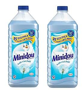 Minidou - Adoucissant Liquide Concentré - Bouffée d'air frais - Flacon 1,875 L / 75 Lavages - Lot de 2