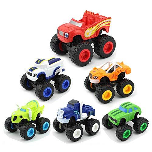 KOBWA Blaze y los Monster Machines Juguetes, 6 Piezas Blaze and The Monster Machines Coches Trituradora Camiones Vehículos Juguetes Regalos para Niños