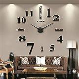 AngelaKerry XXL 3D DIY Moderne Wanduhr Wandtattoo Dekoration Uhr für Zimmerdeko aus Acryl Schwarz