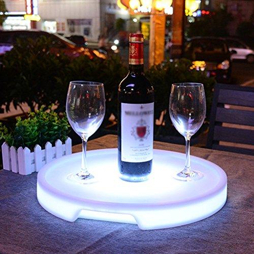 Augrous LED Kunststoff Serviertablett 16 Farbe Ändern Wein Tablett Kreisförmig Wasserdicht Wiederaufladbar zum Bar und Parteien