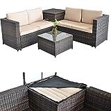 Melko® XXL PolyRattan Sitzgruppe + Auflagebox in Braun, ca. 185 x 185 cm (L x B), inkl. Kissenbox mit integrierter Schutzhülle