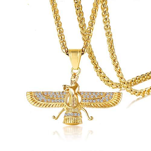 """TIZIKJ Männer es Edelstahl Farvahar Symbol des Iran Persischen Geschenk Pendant Halskette 24\""""Kette"""