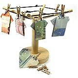 Geldgeschenk Holz Wäschespinne mit 12 Miniklammern aus Holz / Geldwäschespinne aus Holz / Geld- und Fotowäschespinne